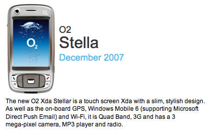 "O2 finally getting HTC Kaiser as ""Xda Stellar"" -- or ""Stella"" perhaps"