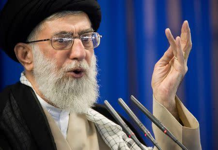 FILE PHOTO: Iran's Supreme Leader Ayatollah Ali Khamenei speaks during Friday prayers in Tehran
