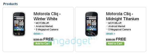 Motorola CLIQ listed for free on contract at T-Mobile, $400 straight-up