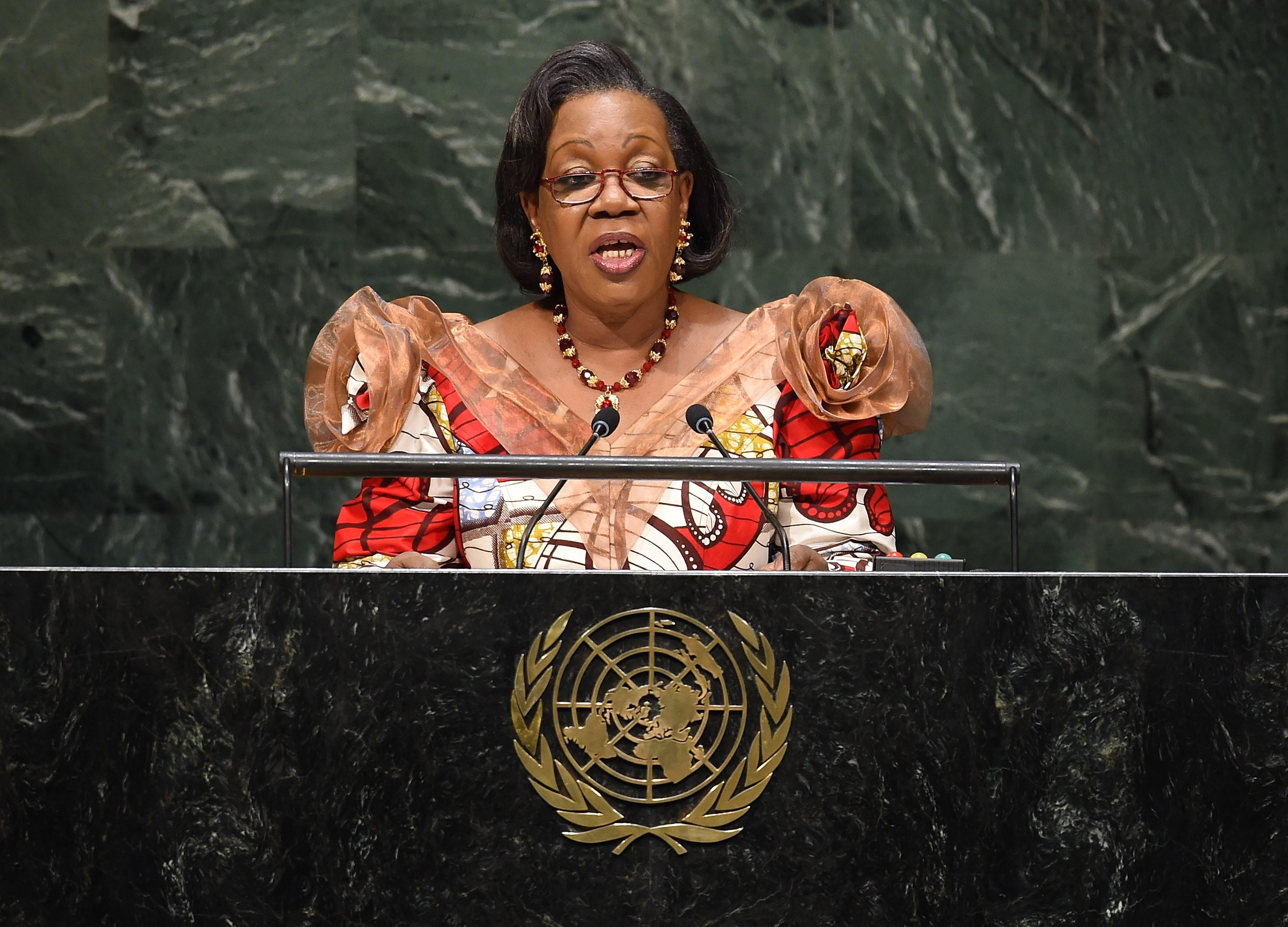 Catherine Samba-Panza, President of the Transitional Government of the Central African Republic, speaks during the 69th Session of the UN General Assembly in New York on September 27, 2014