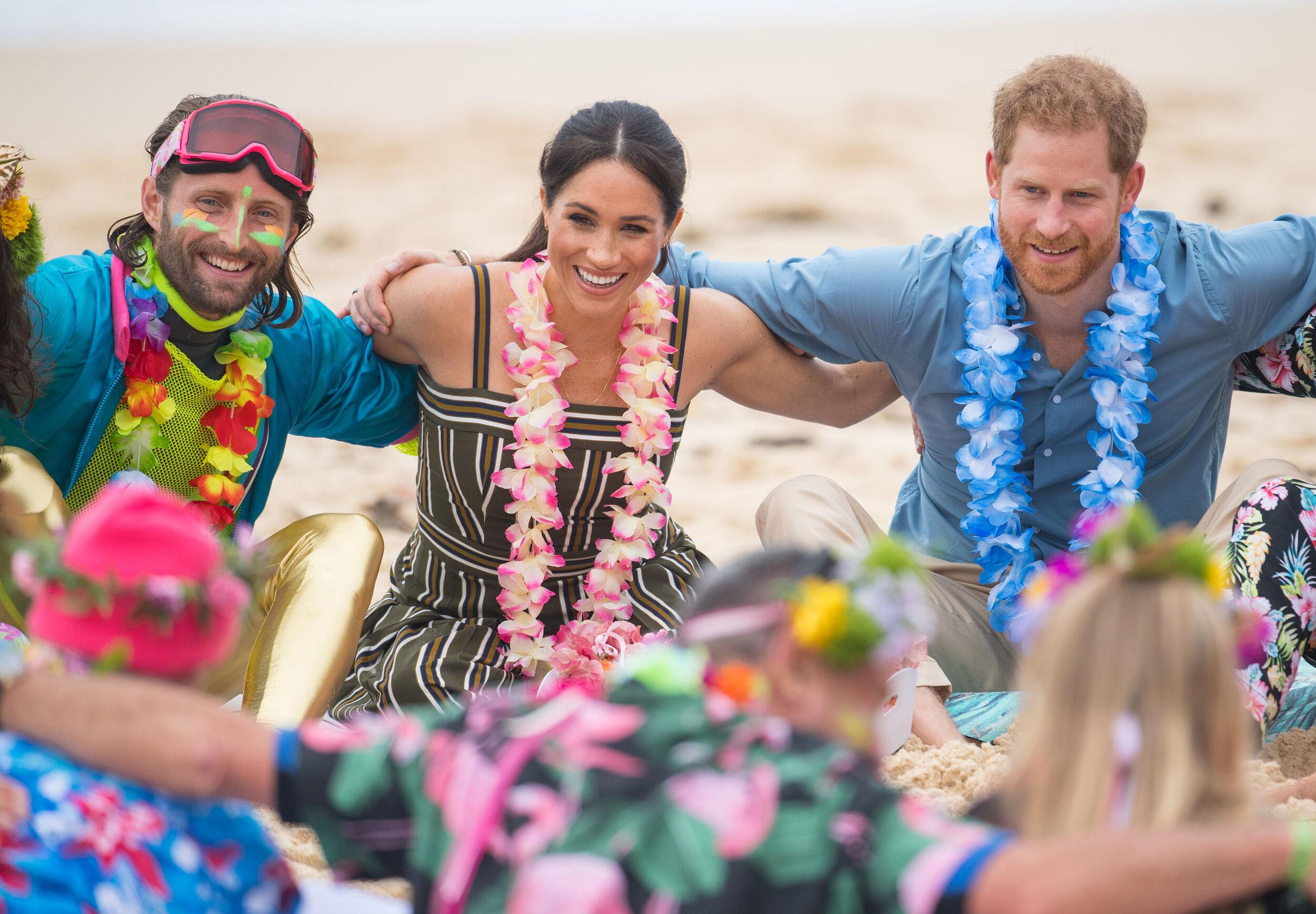 The Duke and Duchess of Sussex meet members of surfing community group One Wave during a visit to South Bondi Beach in Sydney, on the day of the royal couple's visit to Australia.
