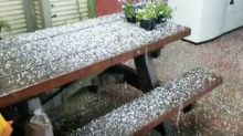 Hail Sunshower Comes Down on Santa Cruz
