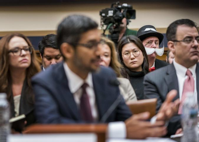 WASHINGTON, DC - DECEMBER 11: At a House Judiciary Committee hearing with Google CEO Sundar Pichai testifying, policy attorney Ian Madrigal is also Monopoly Man who photo bombs high profile congressional hearings on Capitol Hill in Washington, DC on Tuesday December 11, 2018. (Photo by Melina Mara/The Washington Post via Getty Images)