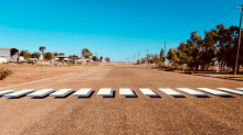 Outback town installs 3D pedestrian crossings to slow down motorists