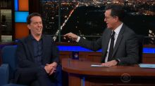Ed Helms and Stephen Colbert rekindle bathroom feud on 'The Late Show'