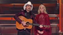 Carrie Underwood, Brad Paisley sneak in good-natured Trump joke at CMA Awards