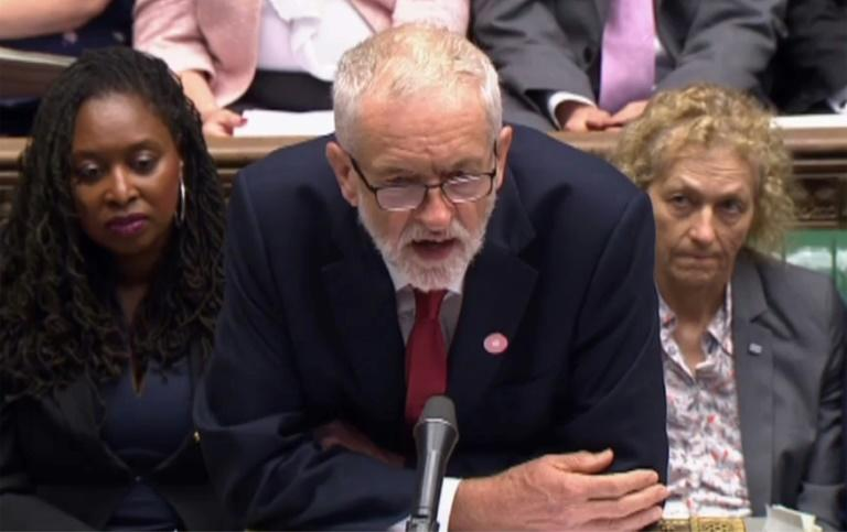 """Labour leader Jeremy Corbyn said he would not support the prime minister's """"cynical"""" election call until the law blocking """"no deal"""" was implemented (AFP Photo/-)"""