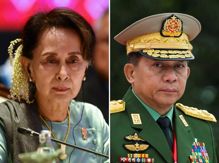 Aung San Suu Kyi and Myanmar military chief Min Aung Hlaing face a lawsuit filed in Argentina (AFP Photo/Lillian SUWANRUMPHA, Ye Aung THU)