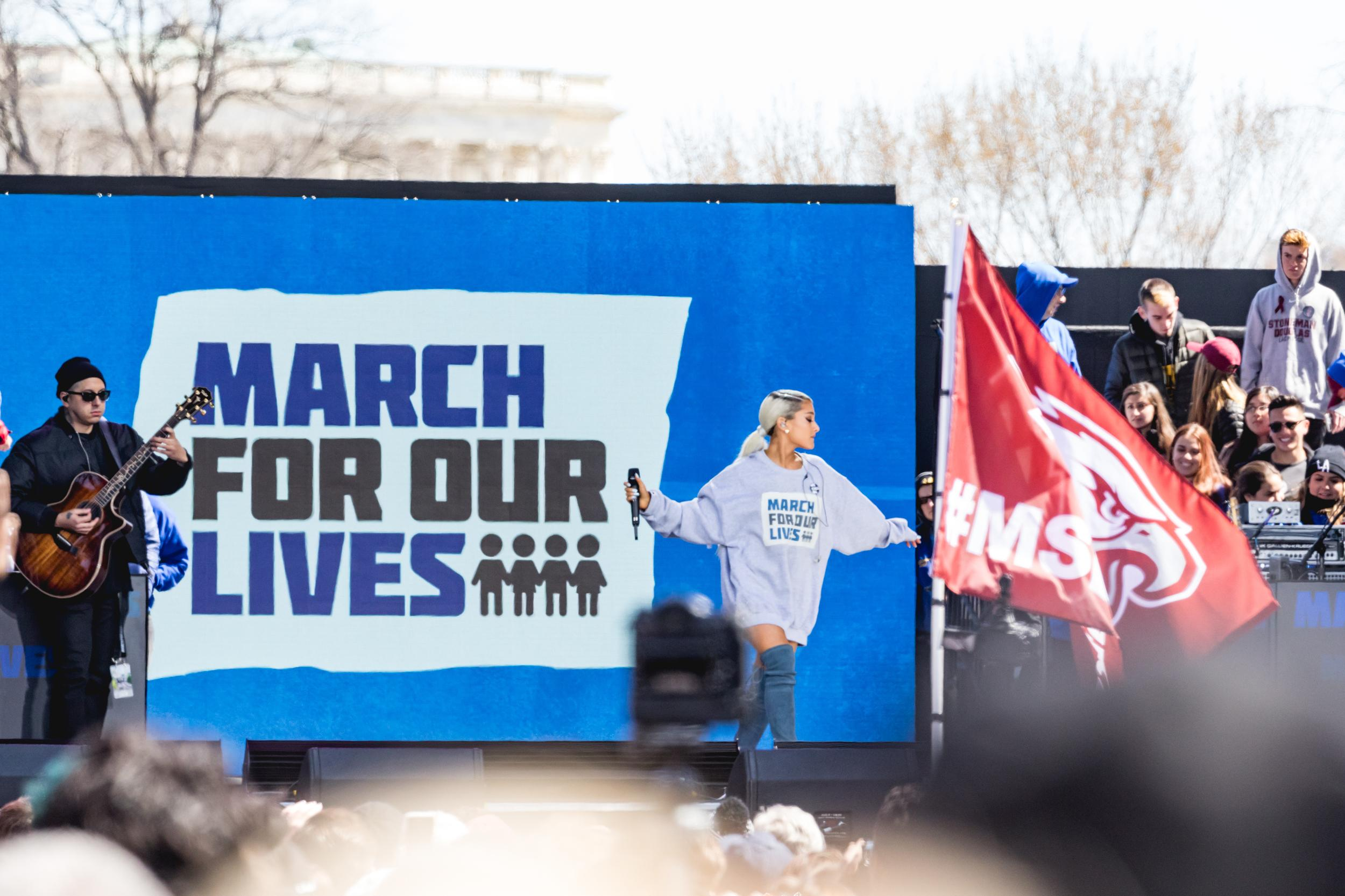 Ariana Grande performs at the March For Our Lives Rally in Washington, D.C. on Saturday, March 24, 2018. (Photo by Cheriss May)
