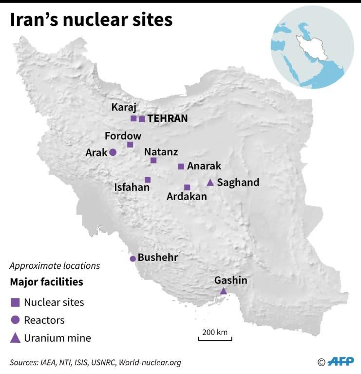 Map of Iran showing main nuclear facilities. (AFP Photo/)