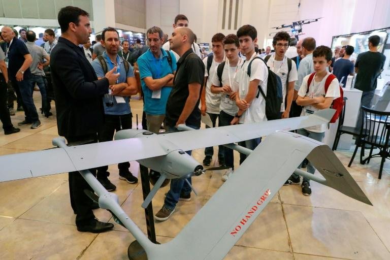 BlueBird's WanderB is an Israeli military drone that takes off and lands like a helicopter (AFP Photo/JACK GUEZ)