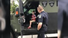 Police surprise 4-year-old with SWAT vehicle, presents at birthday party