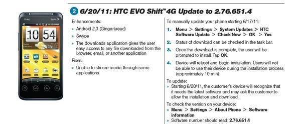 EVO Shift 4G getting Gingerbread, Swype on June 20