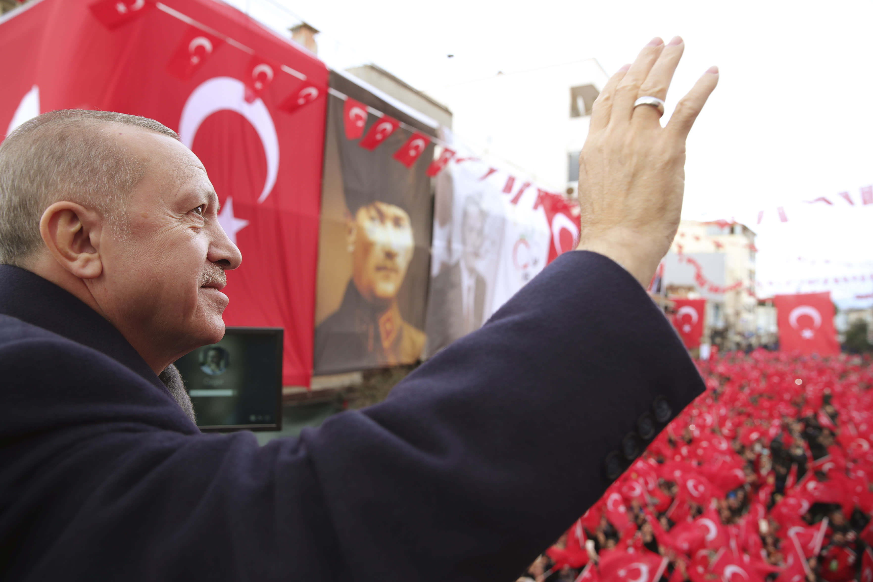 Turkish President Recep Tayyip Erdogan addresses his supporters, in Izmir, Turkey, Saturday, Feb. 22, 2020. A Turkish soldier was killed in Syria's northwest Idlib province, state-run Anadolu news agency reported Saturday. He was at least the 16th member of the Turkish military to die in February during an offensive by Syrian government forces. (Presidential Press Service via AP, Pool)