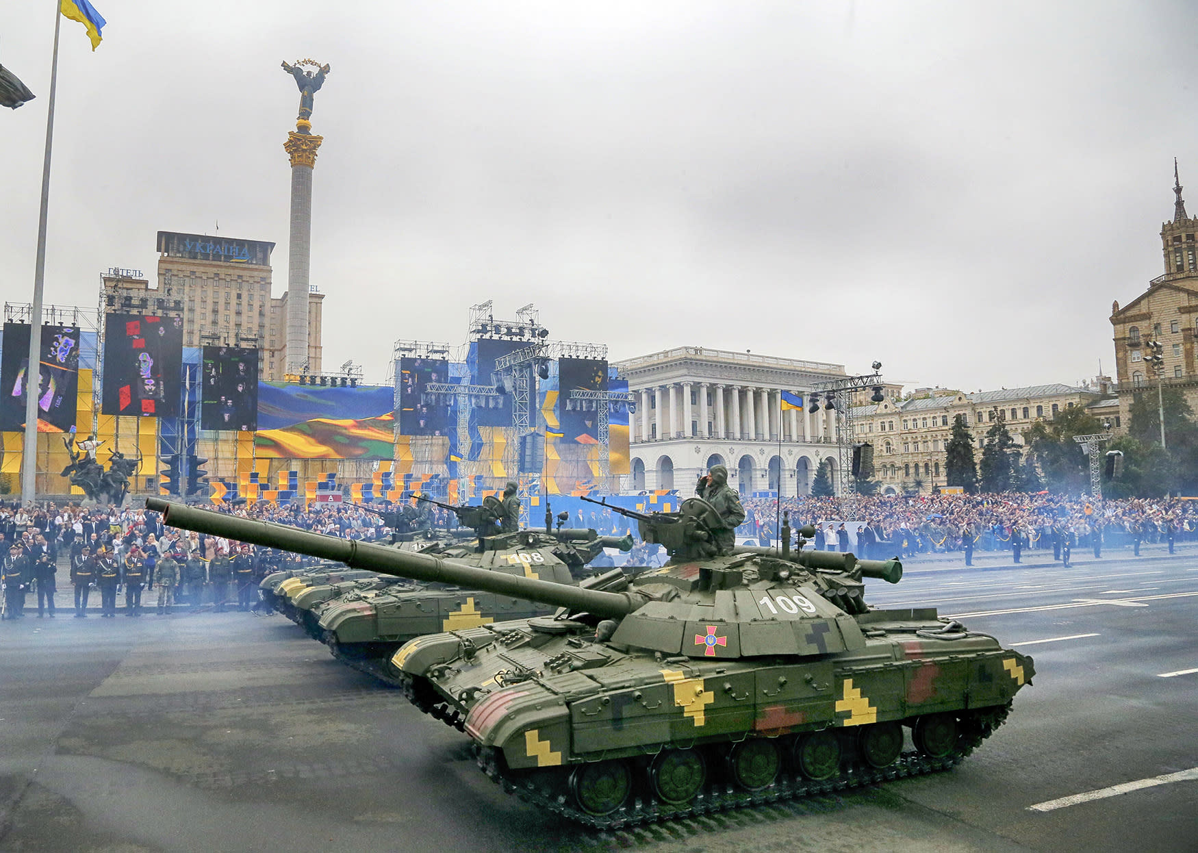 <p>Tanks ride along Khreshchatyk Street, during a military parade to celebrate Independence Day in Kiev, Ukraine, Wednesday, Aug. 24, 2016. (Photo: Efrem Lukatsky/AP) </p>