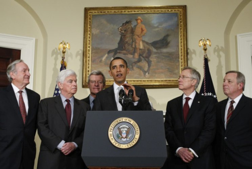 President Barack Obama makes remarks about his meeting with Democratic senators on health care legislation in the Roosevelt Room at the White House in Washington, D.C., on Dec. 15, 2009. (Photo: Jim Young/Reuters)