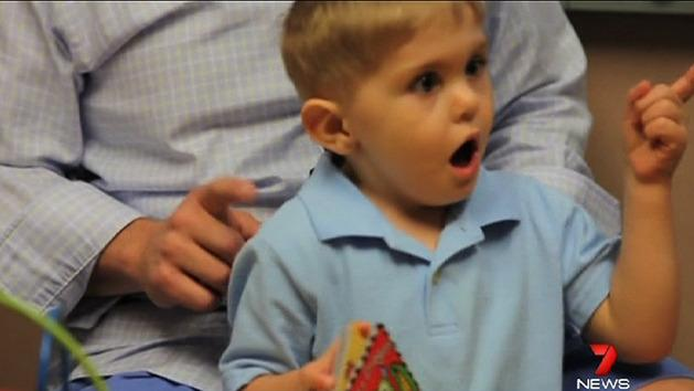 Boy hears dad's words for first time