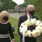 Biden appears in public for first time in months to lay wreath on Memorial Day