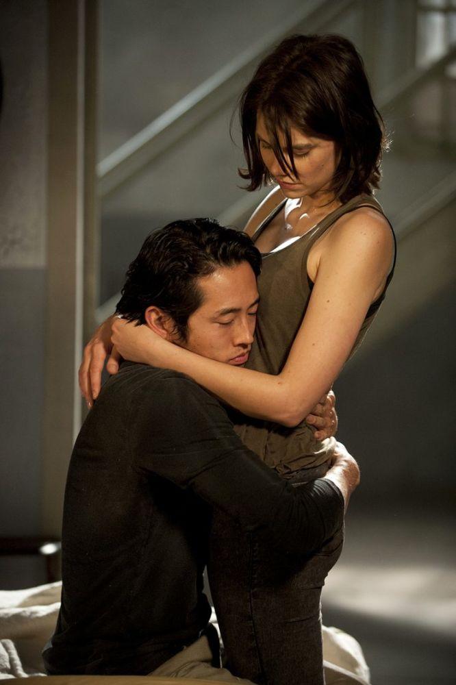 Steven Yeun as Glenn and Lauren Cohan as Maggie Greenein AMC's The Walking Dead . (Photo Credit: Gene Page/AMC)