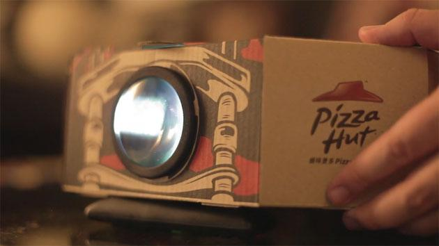 This pizza box doubles as a movie projector