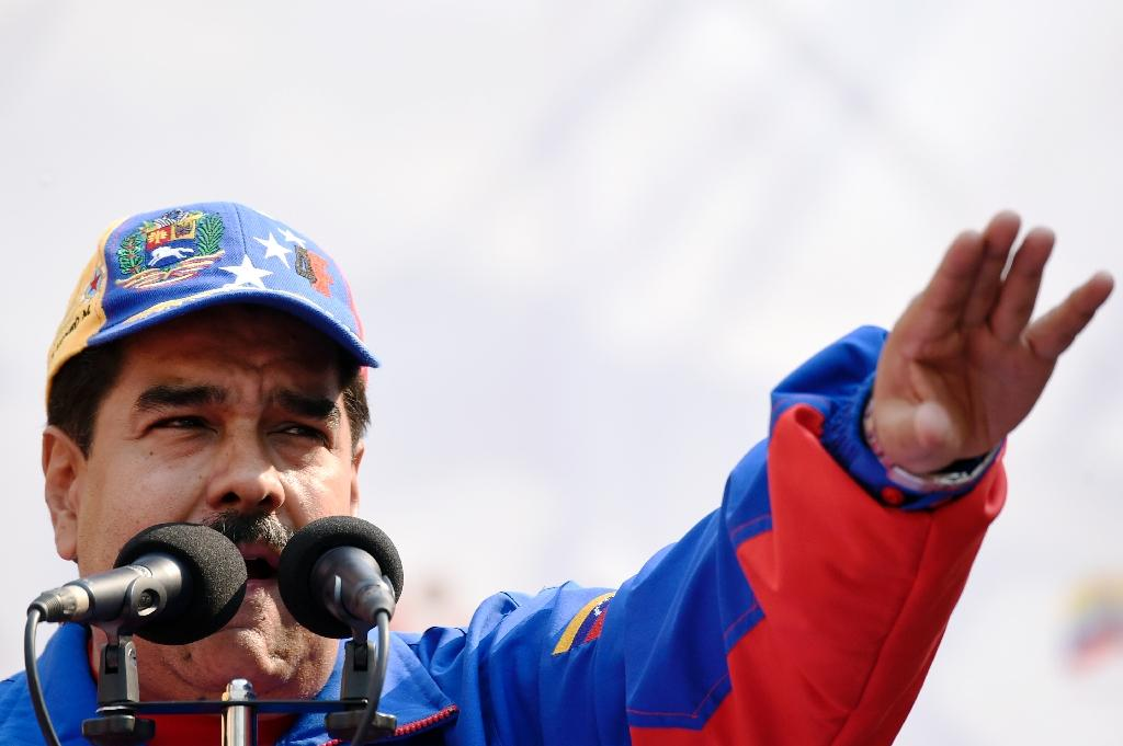 Venezuelan President Nicolas Maduro speaks during a May Day meeting in Caracas on May 1, 2015