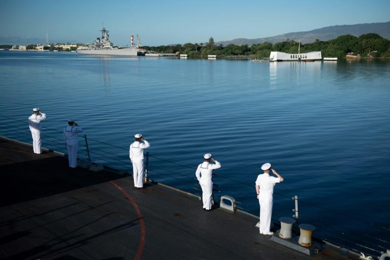 The ceremony was held within sight of the sunken USS Arizona (AFP Photo/Handout)