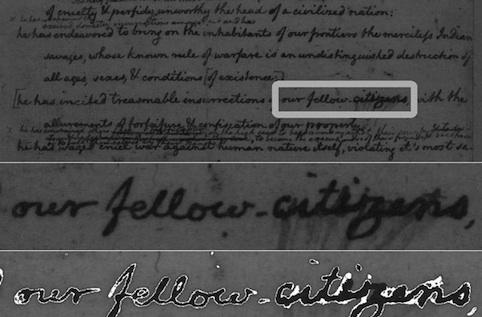 Hyperspectral imaging reveals Declaration of Independence rough draft dubbed citizens 'subjects'