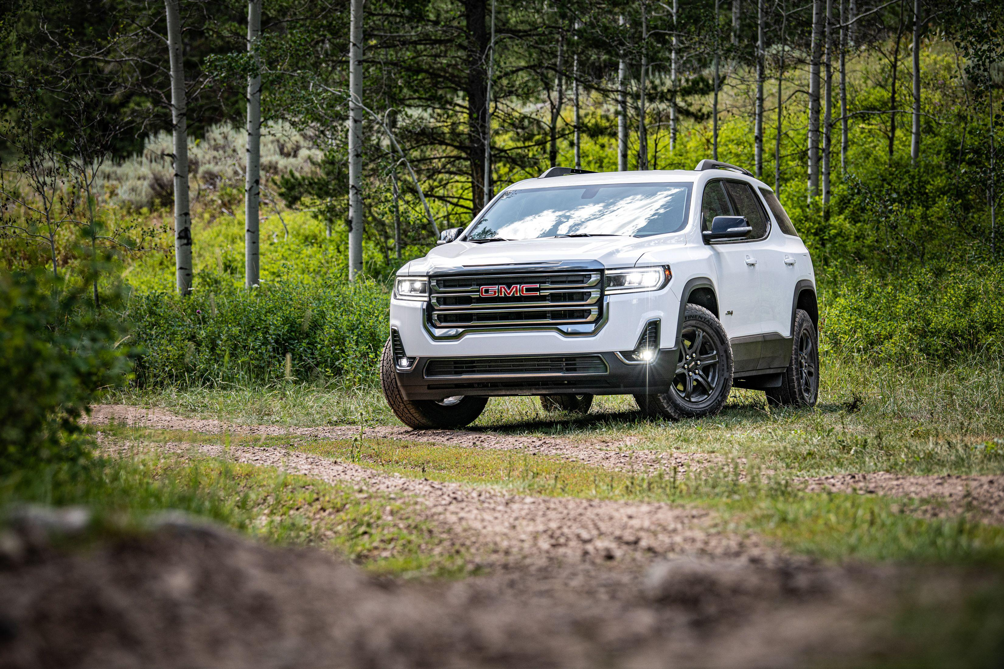 """<p>The GMC Acadia benefits from a host of mechanical and cosmetic upgrades for the 2020 model year, as well as a new rugged-looking AT4 trim level. Read the full story <a href=""""https://www.caranddriver.com/reviews/a29538377/2020-gmc-acadia-drive/"""" rel=""""nofollow noopener"""" target=""""_blank"""" data-ylk=""""slk:here"""" class=""""link rapid-noclick-resp"""">here</a>.</p>"""