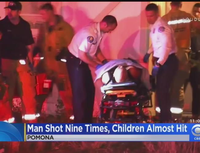 Spray Of Gunfire Hits Man 9 Times, Barely Misses 3 Kids In Pomona Home