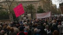 Pensioners Protest Outside Government Buildings in Barcelona
