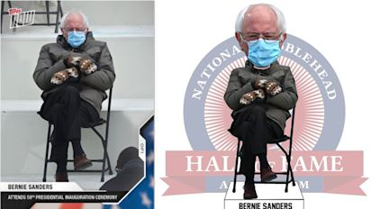 Bernie meme already a baseball card, bobblehead