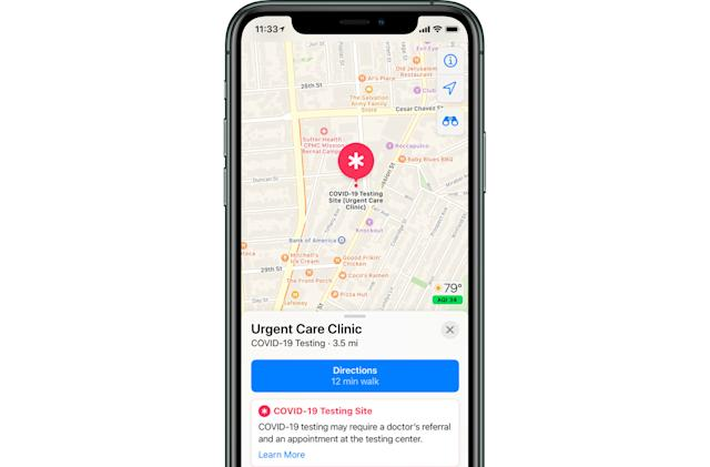 Apple Maps will show COVID-19 testing locations