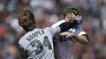 Nine must-see moments from the Bryce Harper/Hunter Strickland brawl