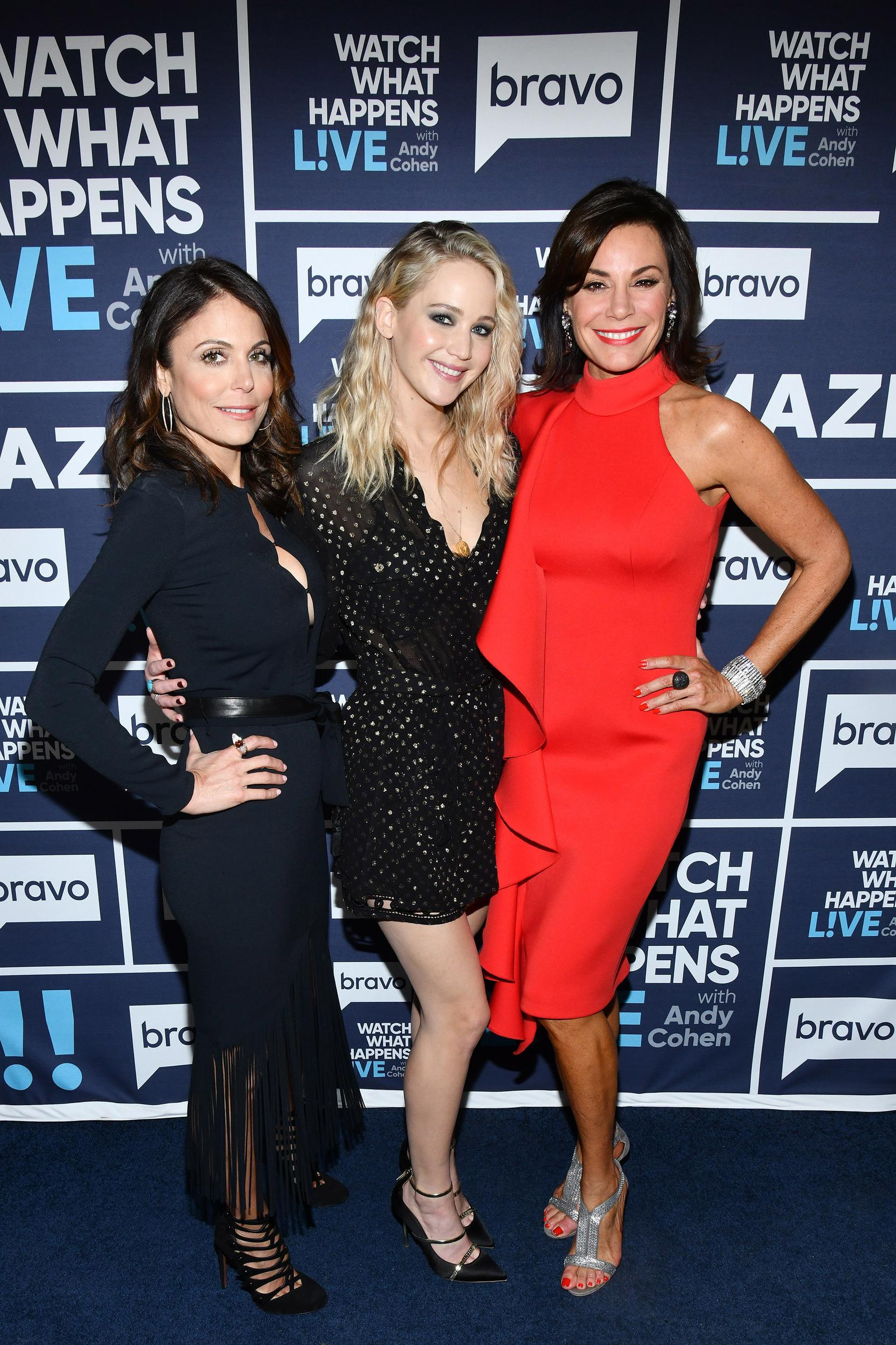 WATCH WHAT HAPPENS LIVE WITH ANDY COHEN -- Pictured (l-r): Bethenny Frankel, Jennifer Lawrence and Luann de Lesseps -- (Photo by: Charles Sykes/Bravo/NBCU Photo Bank via Getty Images)