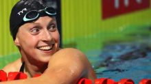 Katie Ledecky wins by 21 seconds to open first full swim meet in one year