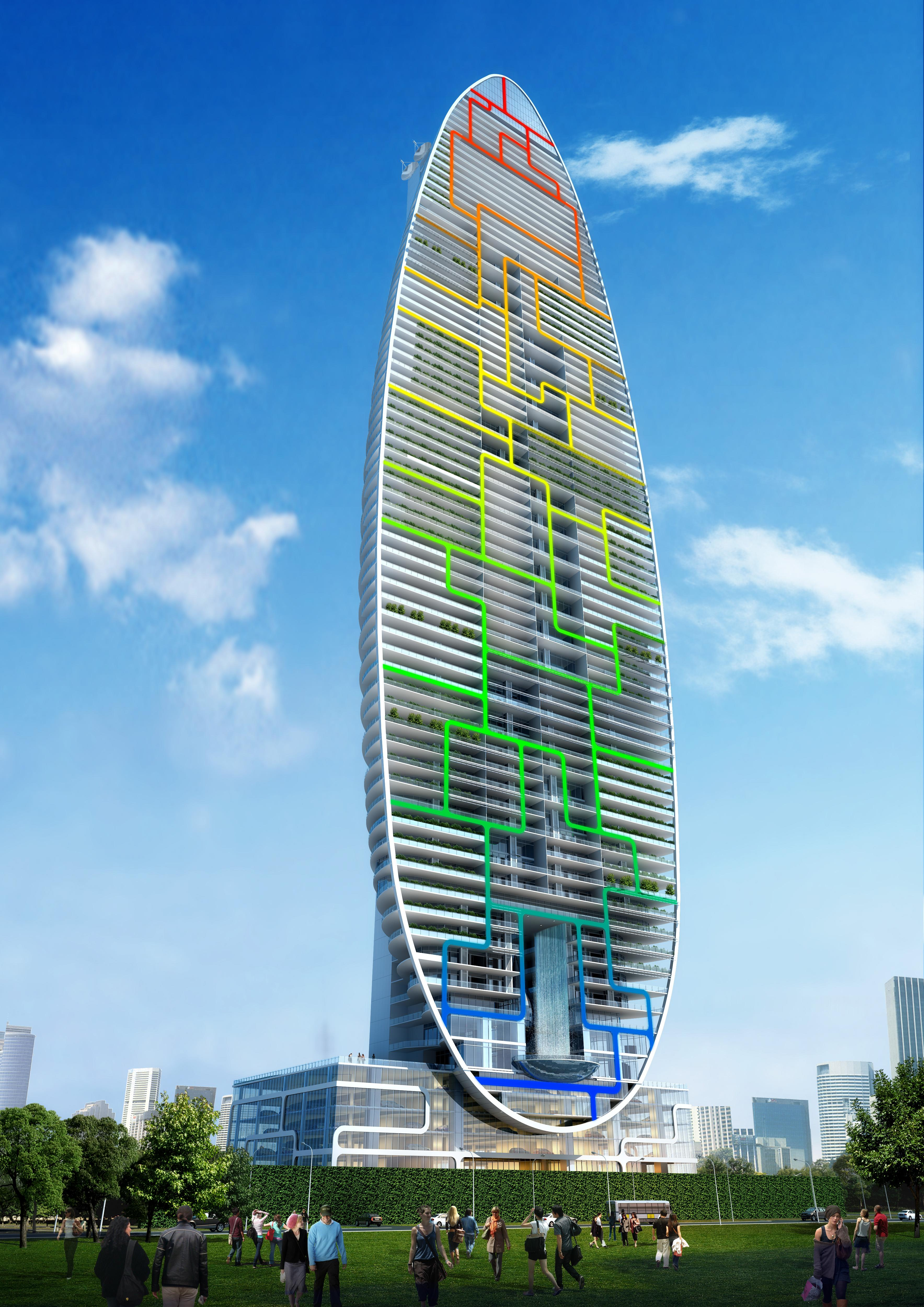 Water Building Material : Water droplet shaped building in india