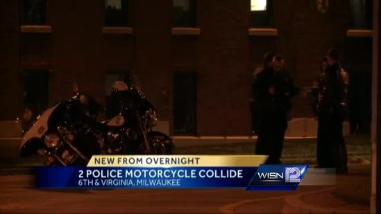 Two police motorcycles collide in Milwaukee