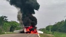 Alleged drug plane burns on Mexican highway