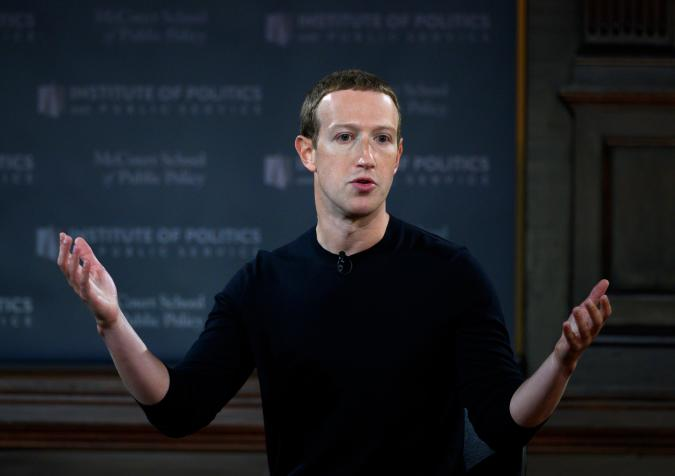 """Facebook founder Mark Zuckerberg speaks at Georgetown University in a 'Conversation on Free Expression"""" in Washington, DC on October 17, 2019. (Photo by ANDREW CABALLERO-REYNOLDS / AFP) (Photo by ANDREW CABALLERO-REYNOLDS/AFP via Getty Images)"""