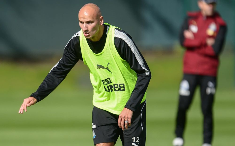 Jonjo Shelvey in Newcastle training last month - Newcastle United