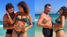 Giselle Itié exibe barrigão da gravidez com Winter e o pai