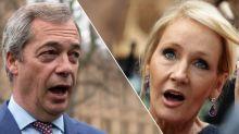 Nigel Farage accuses JK Rowling of being 'prejudiced' after she accused him of radicalising people against Muslims