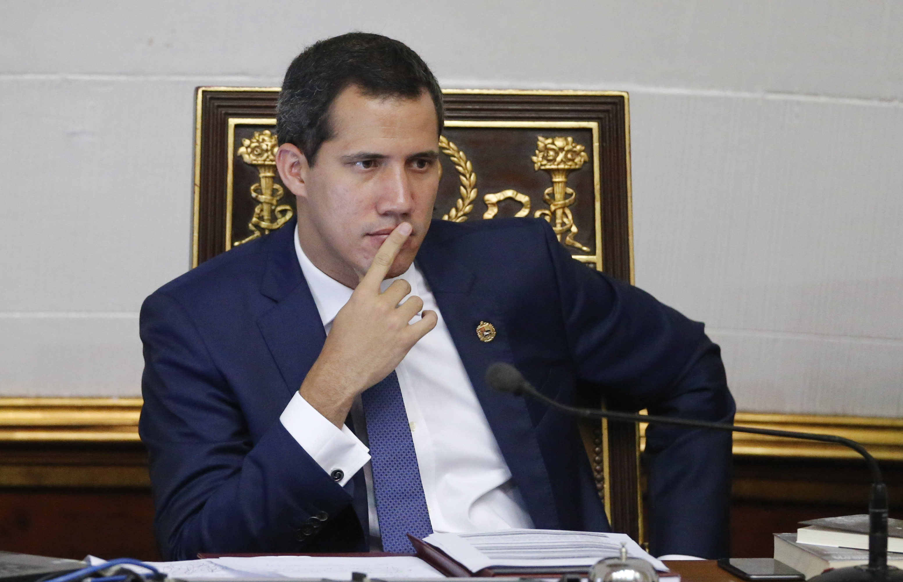 Venezuelan Opposition leader and self-proclaimed interim president of Venezuela Juan Guaido sits during a weekly session at the National Assembly in Caracas, Venezuela, Tuesday, Sept 10, 2019. (AP Photo/Ariana Cubillos
