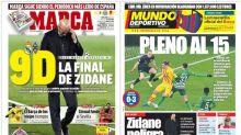 El últimatum a Zidane si no clasifica para octavos y el pleno de victorias azulgrana, en portada
