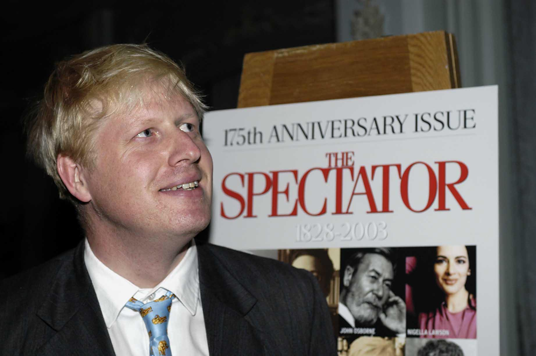 Boris Johnson, Conservative MP and editor of The Spectator magazine, at a party to mark The Spectator's 175th anniversary, at the Four Seasons Hotel, Park Lane, London. Among those also in attendance at the party were Home Secretary David Blunkett, broadcasters David Dimbleby and Andrew Neil, and Ulster Unionist leader David Trimble.  16/10/2004  The Spectator editor Johnson, has been ordered by Tory leader Michael Howard to go to Liverpool to apologise for an article in his magazine accusing its people of 'wallowing' in their 'victim status'. Mr Johnson, who is also the Conservative shadow minister for the arts, said he would be travelling to the city next week in a 'spirit of complete humility' to apologise in person for the offence caused.