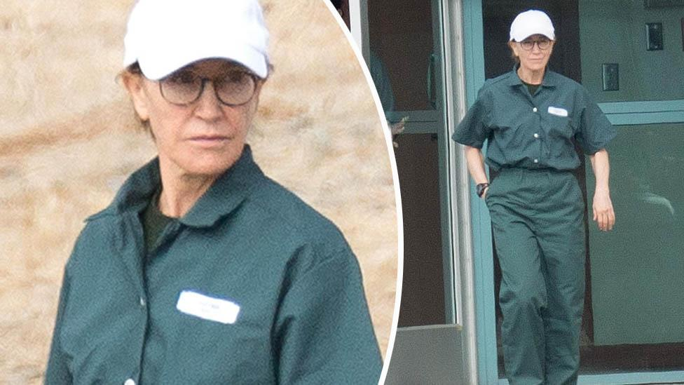 Felicity Huffman looks downcast in her prison greens