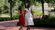 Michelle Obama and Queen Letizia of Spain Stroll Together in Stunning Dresses