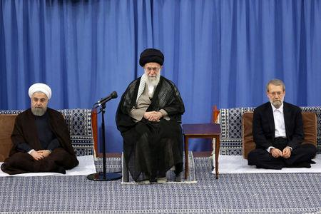 (R L) Iran's parliament speaker Ali Larijani, Iran's Supreme Leader Ayatollah Ali Khamenei, and Iranian President Hassan Rouhani attend Supreme Leader's meeting with authorities of the country and ambassadors of Islamic countries, in Tehran, Iran July 6, 2016. President.ir/Handout via REUTERS
