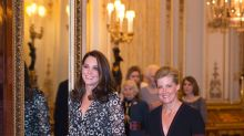 Pregnant Kate Middleton Hosts Fashion Reception at Buckingham Palace in Flirty Floral Dress