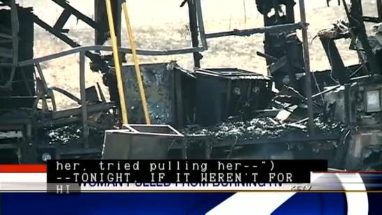 Man pulls woman from burning motor home